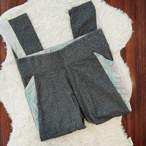 PINK Yoga Leggings Gray Tropical Print Mesh